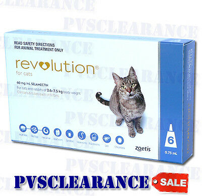 Revolution Blue for Cats 2.6 - 7.5 kg 6 Pack Flea & Worm - EXP 04 / 2019