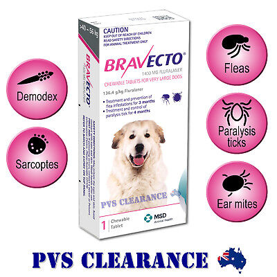 Bravecto for Very Large Dogs - Purple 40 - 56 kg - Single Chew - Flea & Tick