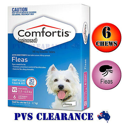Comfortis Pink 6 Pack for Extra Small Dogs 2.3 - 4.5kg Fast Flea Treatment