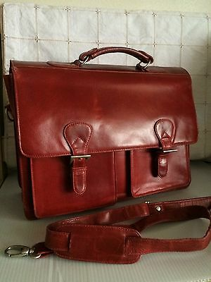 WILSONS LEATHER Red Leather Computer Business Travel Briefcase Tote Bag