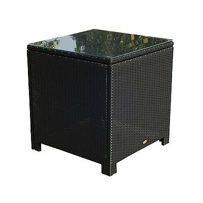 Outsunny Rattan Wicker Side Coffee Table with Glass Top Outdoor Patio Furniture
