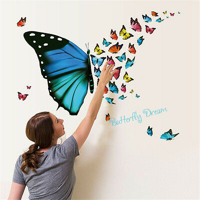 Butterfly Flying Room Home Decor Removable Wall Stickers Decals Decoration