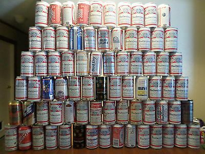 Vintage Beer Can Lot Set 137 Mostly Different Rare Old Budweiser Bud Man Cave