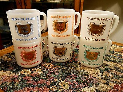 Full Set of 6 PHARMACY COFFEE MUGS Vintage Federal Glass Probably Never Used