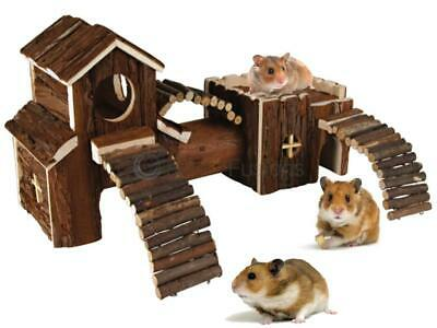Natural Wooden Hamster Play Ground Mouse Gerbil Pet Indoor Play House Tunnel Toy