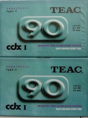 2 x CASSETTE TAPES BLANK BNIB SEALED TEAC SUPERFERRO 90 MINUTES IDEAL FOR CD NEW