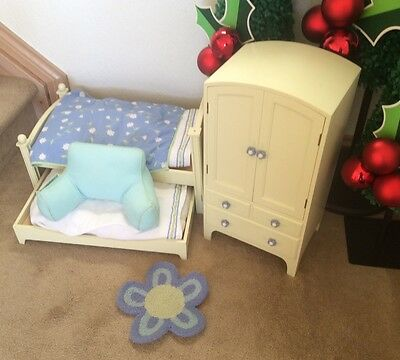 American Girl Doll Flower Bedroom Set Trundle Bed W/ Matching Armoire  Wardrobe