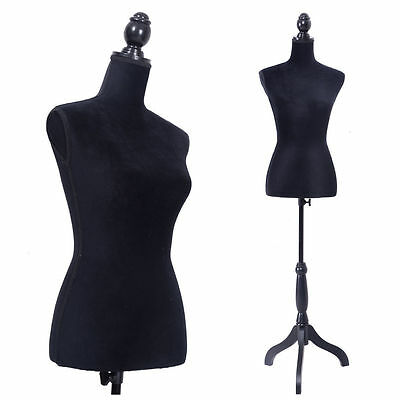 New Female  Women Mannequin Torso Dress Form Display W/ Black Tripod Stand Black