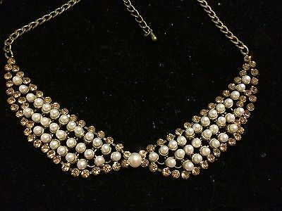 Vintage Pearl And Gold Rhinestone Chain Mail Collar Necklace