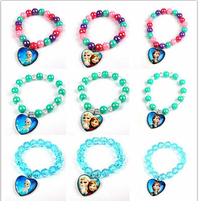 Frozen Costume Anna/Elsa Heart Pendant Beads Bangle Charm Bracelet