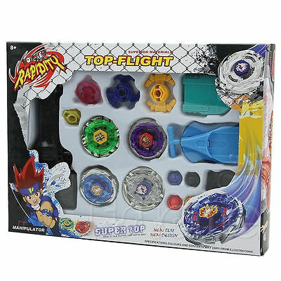 Metal Master Fusion Top Rapidity Fight Rare Beyblade 4D Launcher Grip Set New DS