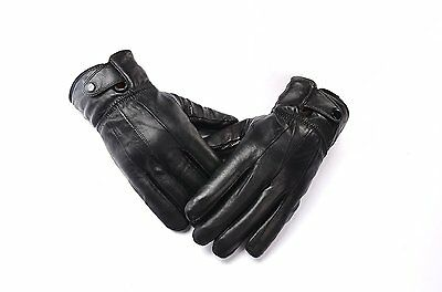 Anccion Men's Genuine Leather Warm Lined Driving Gloves, Motorcycle Gloves Large