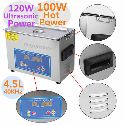 NEW Stainless Steel 4.5L Liter Industry Heated Ultrasonic Cleaner Heater w/Timer