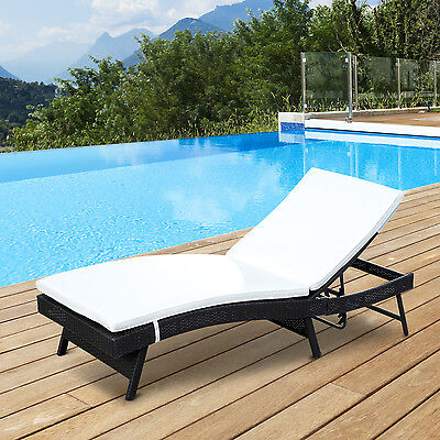 Outsunny Adjustable Rattan Chaise Lounge Wicker Chair Reclining Sofa Furniture