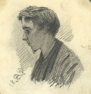 Portrait of a Young Man - Original 1863 graphite drawing