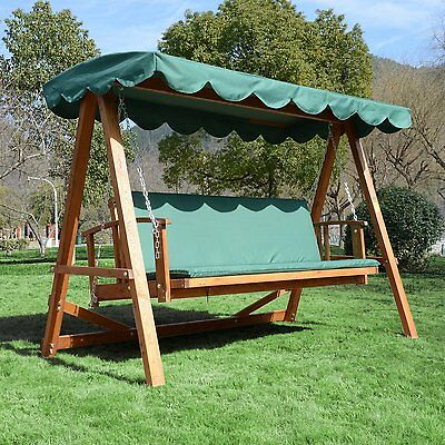 Outsunny 3 Seater Hardwood Reclining Swing Chair with Adjustable Back Green