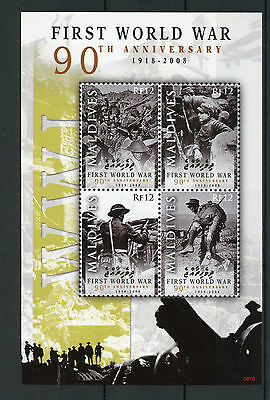 Maldives 2008 MNH First World War 90th Anniv 4v M/S I WWI Soldiers Stamps