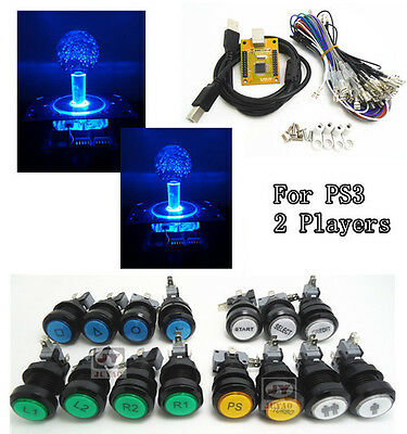 "1 kit of ""NEW VERSION"" 5V LIGHTING 2 players PC PS 3 2 IN 1 Arcade"