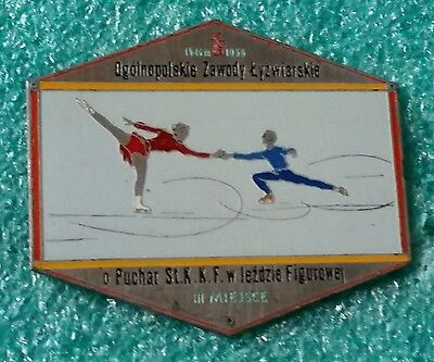 Competition Figure Skating Warsaw 1956 Iii Place  Old Plaque