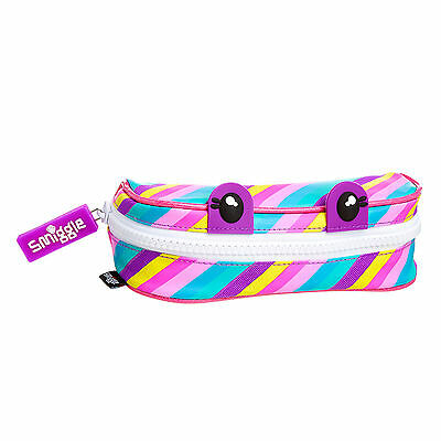 Smiggle BNWT Chompers Scented pencil case pen new stripey pink blue school