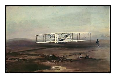 First Power-Driven Aeroplane Flight 1903 - Wright Flyer Artist's Sketch Postcard