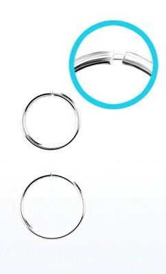 Seamless Continuous Sterling Silver 925 Nose Hoop Ring 18g (1mm)  8,10 or 12mm