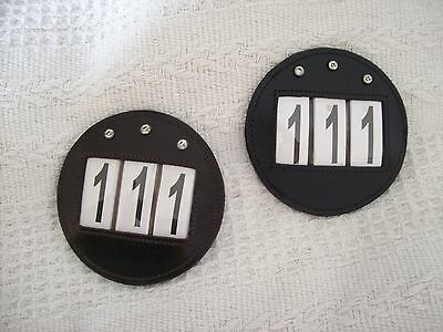 BLING*2 Leather Round Bridle Number Holders*Show/Dressage/Competitions*BLCK/BRWN