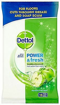 **Dettol Power & Fresh Apple Floor Cleaning Wipes 45 Wipes Green Apple 143470**