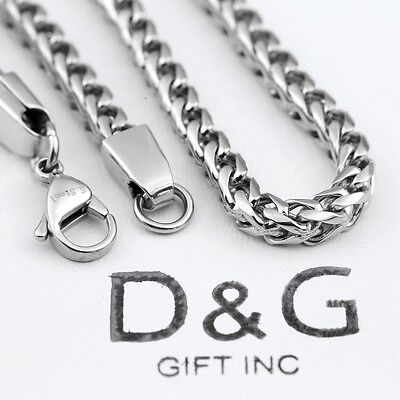 """DG Men's 24"""" Silver.Stainless Steel 7mm Smooth Franco Chain Necklace*Classic*Box"""