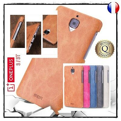 Etui housse coque antichoc MOFI Cuir PU Leather Noir Case Cover OnePlus 3 / 3T