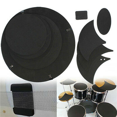 10Pcs DPS Bass Snare Drum Sound off Mute Silencer  Rubber Practice Pad Set