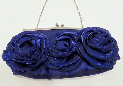 Purple Satin Rose Handbag Wedding Evening Prom Clutch Purse Silver Hardware