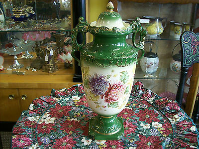 Urn/Vase With Lid Antique Floral Design Signed Victorian