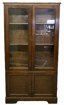 Oak Cabinet with Two Glazed Doors Above Panelled Cabinet