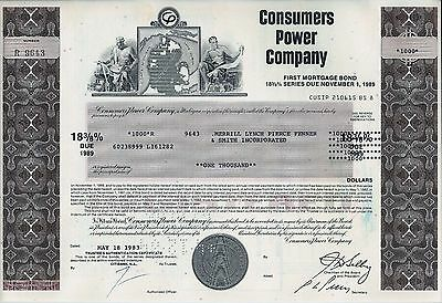 Consumers Power Company 1983, 18 3/8% First Mortgage Bond due 1989 (1.000 $)