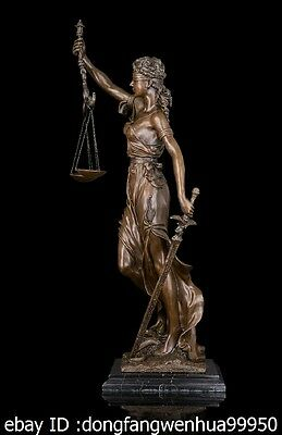 Abstract Art Sculpture Bronze Copper Marble Lady Justice Snake Statue Figurine