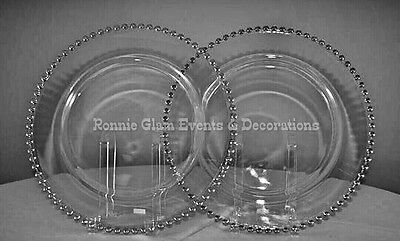 Transparent Glass Beads Charger Plates Wedding Dinner Events SILVER NEW