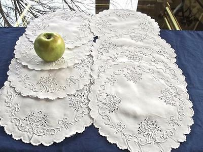"""8 Vintage Madeira Hand Embroidery Linen 10""""Round Doilies Bridal Basket Lace Bows"""