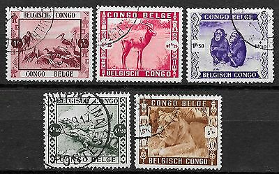 Belgian Congo stamps 1939 OBP 209-213  CANC  VF