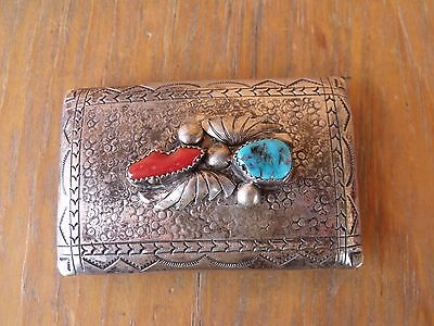 """Signed RHY Richard Henry Yazzie Navajo 3""""x2"""" Silver Belt Buckle Turquoise Coral"""