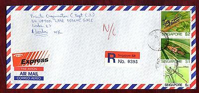 """SINGAPORE STAMPS- Insects 5c,1$ and 2$,  airmail """"R"""" cover to UK, 1987"""