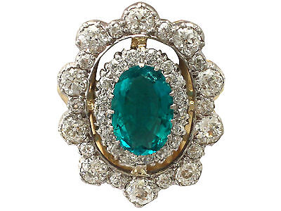 3.12 ct Emerald and 3.15 ct Diamond, 18 ct Yellow Gold Dress Ring - Antique