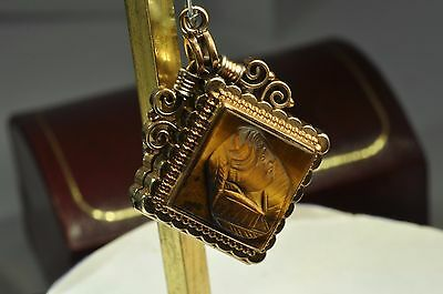 Gorgeous victorian Gold Filled picture locket pocket watch fob/ Necklace Pendant