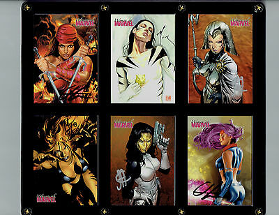 Women Of Marvel 6 Card Signed Set In Display! Horn Cheung Mack Deodato Psylocke