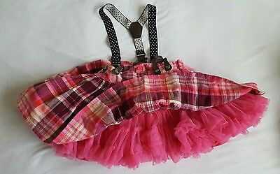 Girls NEXT  pink check tutu brace skirt 12-18 months