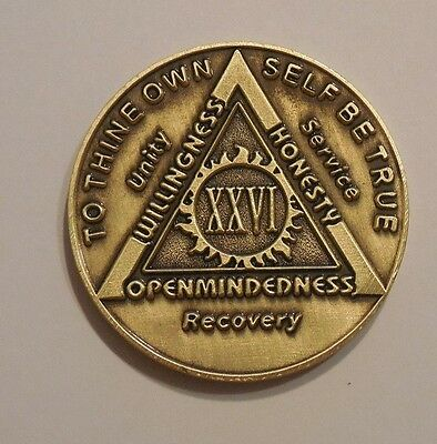 aa bronze alcoholics anonymous 26 year sobriety chip coin token medallion