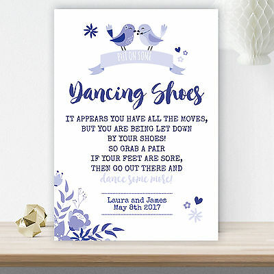 e4b08e28cbb Wedding Dancing Shoes Flip Flop Basket Personalised Sign Navy Love Birds  (LVB6)