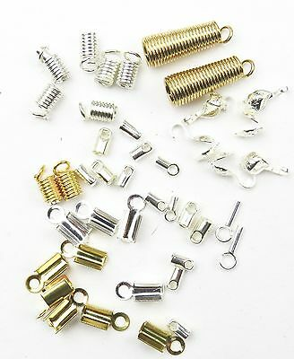Mix Cord Coil Calottes Necklace Ends Crimps Jewellery Finding 40 Pieces 9 Types