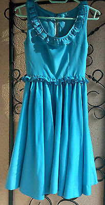 Robe Ancienne Vintage Authentique Bleu Turquoise Taille 38