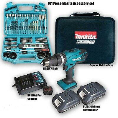 MAKITA 18v Cordless Lithium Combi Drill + 101 makita  accessories